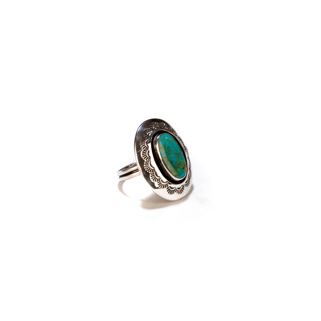 Teller Indian jewelry stamped turquoise ring size 9 Navajo native american made sterling silver jewelry