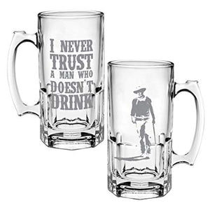 John Wayne never trust a man doesn't drink stein beer beverage glass the duke