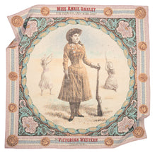 Load image into Gallery viewer, Annie Oakley scarf cotton Italian Victorian colors pastel square female sharpshooter