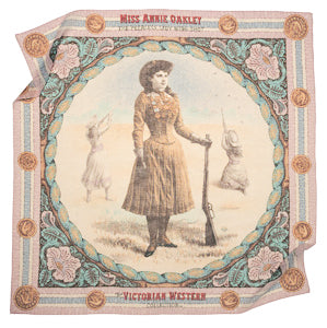 Annie Oakley scarf cotton Italian Victorian colors pastel square female sharpshooter