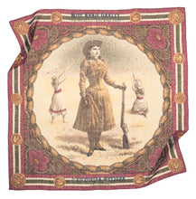 Load image into Gallery viewer, Annie Oakley scarf silky cotton victorian colors jewel bright pink little sharp shooter