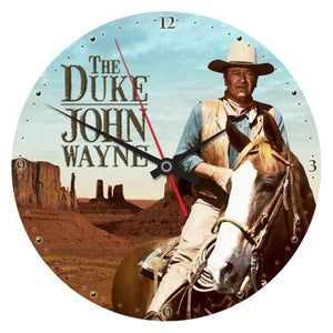 John Wayne the duke cordless quartz movement wall clock wood horseback analog