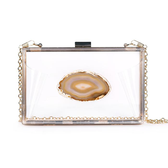 agate game day clutch purse Christina Green bag clear plastic cross body chain natural stone