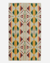 Load image into Gallery viewer, Pendleton Woolen Mills falcon cove towel tan multi Native American indian pattern spa bath pool cotton luxury dry off home gift wedding present front