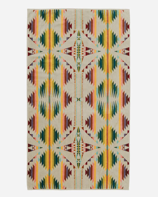 Pendleton Woolen Mills falcon cove towel tan multi Native American indian pattern spa bath pool cotton luxury dry off home gift wedding present front