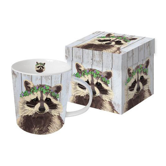 benjamin the raccoon mug with giftbox clover crown trash panda morning coffee or tea rustic animal