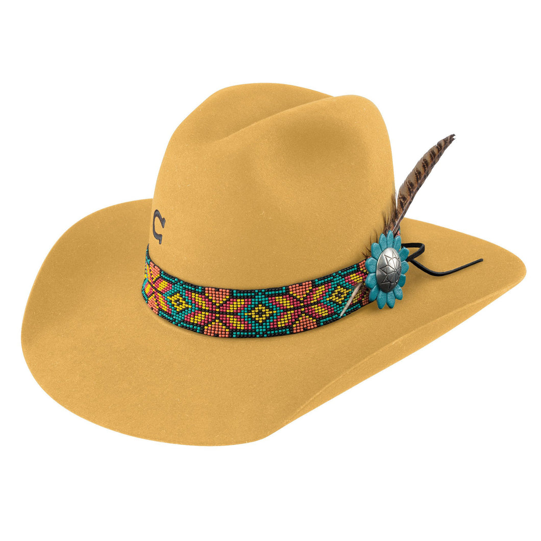 Charlie 1 horse hat company gold digger hat beaded hat band with feather and silver concho mustard yellow cowboy hat western women cowgirl fashion