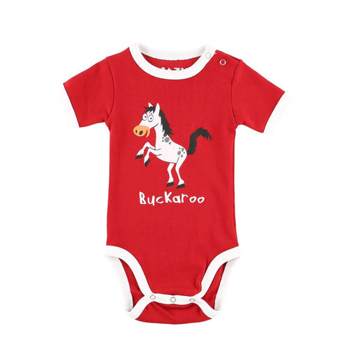 buckaroo baby infant onesie creeper lazy one snapped short sleeve horse bucking kick butt red clothing front graphic