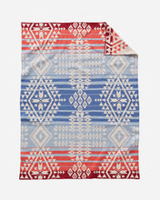 Load image into Gallery viewer, Pendleton woolen mills baby blanket knit canyonlands red cream blue soft cotton warms snuggle