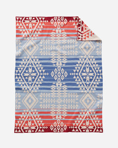 Pendleton woolen mills baby blanket knit canyonlands red cream blue soft cotton warms snuggle