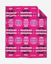 Load image into Gallery viewer, Pendleton Woolen Mills american made Chief Joseph Nez Perce Native American blanket throw robe Cherry hot pink breast cancer awareness research fundraiser wool warm gift women front