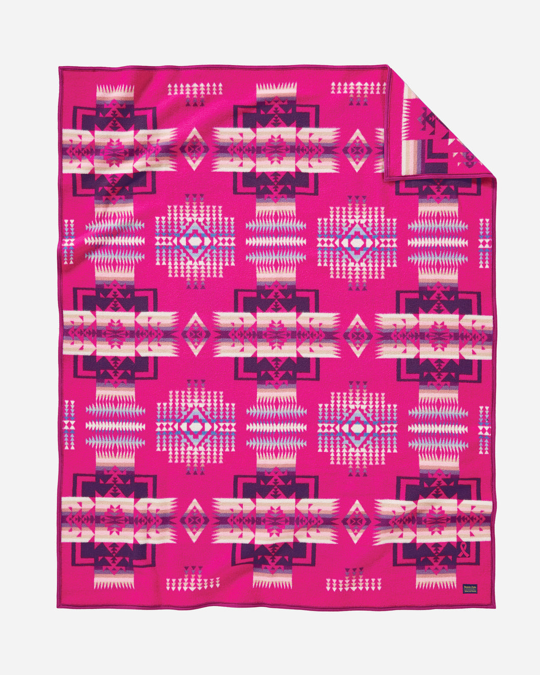 Pendleton Woolen Mills american made Chief Joseph Nez Perce Native American blanket throw robe Cherry hot pink breast cancer awareness research fundraiser wool warm gift women front