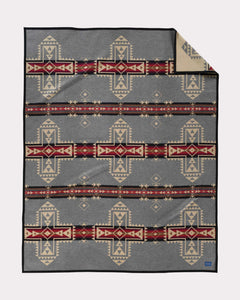 Pendleton Woolen mills crossroads rope blanket throw american made four directions red gray stripes geometric mind spirit body soul heart Native American tribes