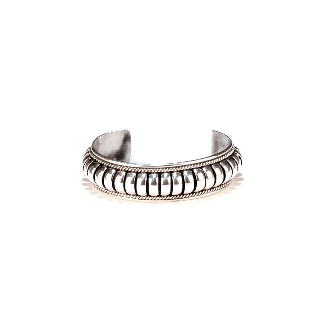 Mary Teller banded silver cuff bracelet jewelry Navajo tribe native american jewelry artists simple