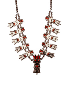 kachina earring and necklace set coral sterling silver Peublo indians Kachina dolls Hopi Indians
