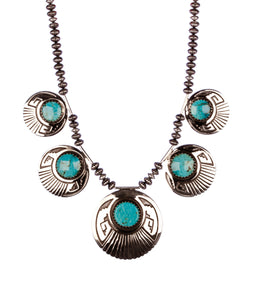 Mary teller turquoise and silver necklace sterling circular stones Navajo Native american artist