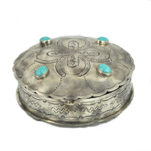 Stamped Round Box with Turquoise