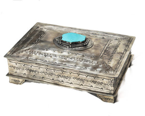 Medium Stamped Box with Turquoise