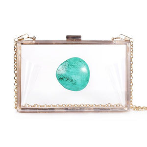 agate stone bag clutch game day purse clear see-through acrylic chain turquoise stone Christina Greene women handbag gift