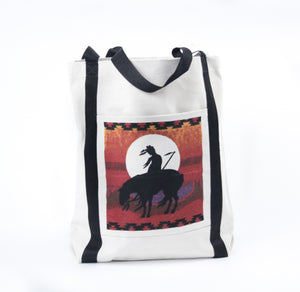 End of the trail sculpture canvas tote bag carry all sunset painted