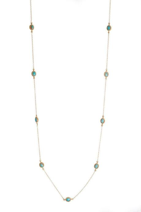 Elizabeth Necklace turquoise chain dainty slim 18k gold Christina Green jewelry