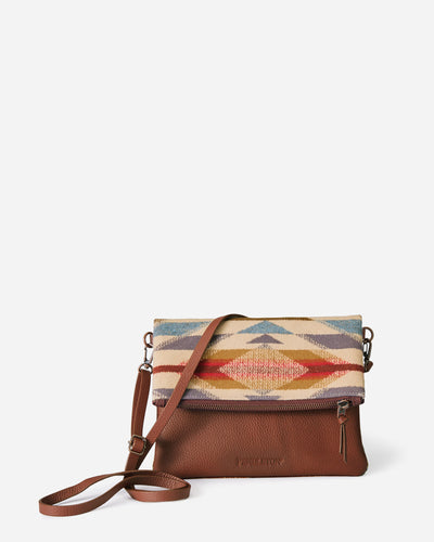 Pendleton woolen mills wyeth trail crossbody fold over clutch purse western pattern leather and wool