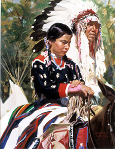 Bettina Steinke father and daughter at the crow fair print replica native american family portrait artist signed print artwork
