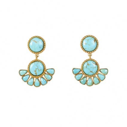 Free Bird Turquoise earrings Christina Greene 18K gold plated unique jewelry fan
