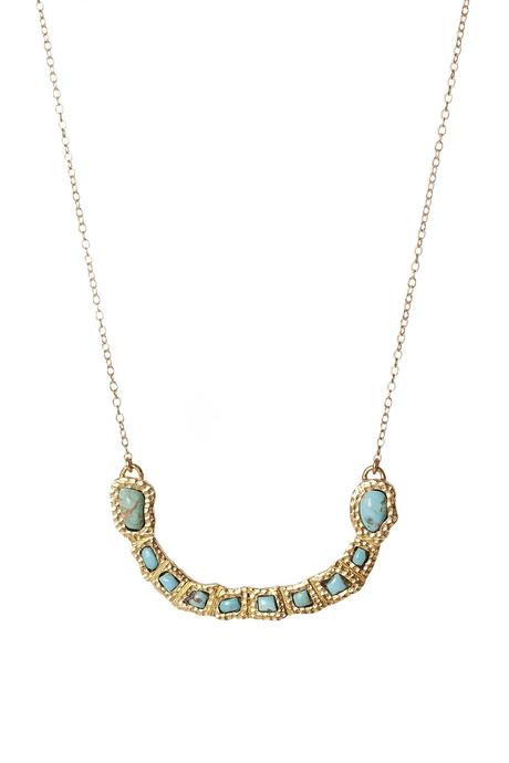 gemstone curved bar necklace Christina greene jewelry turquoise stone western gold 18k plated
