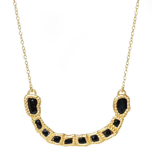 Gemstone Curved Bar Necklace with Black Onyx