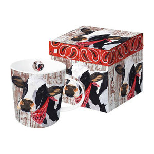 henrietta the cow black and white with a red paisley bandanna coffee and tea hot beverage morning kitchen dishes barnyard rustic