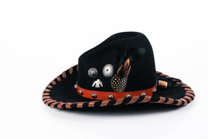 Laura Ingalls designs Dakota gus black felt hat leather lacing feathers silver conchos