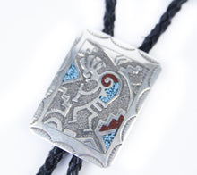 Load image into Gallery viewer, Silver Distinction native american jewelry handmade Navajo Ray Begay inlay bolo tie for men dressed up unique stones turquoise and coral kokopelli symbol leather tie
