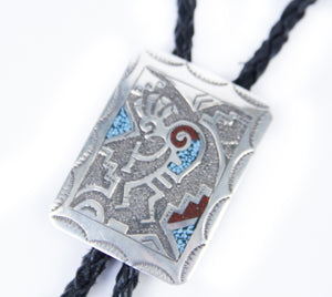 Silver Distinction native american jewelry handmade Navajo Ray Begay inlay bolo tie for men dressed up unique stones turquoise and coral kokopelli symbol leather tie