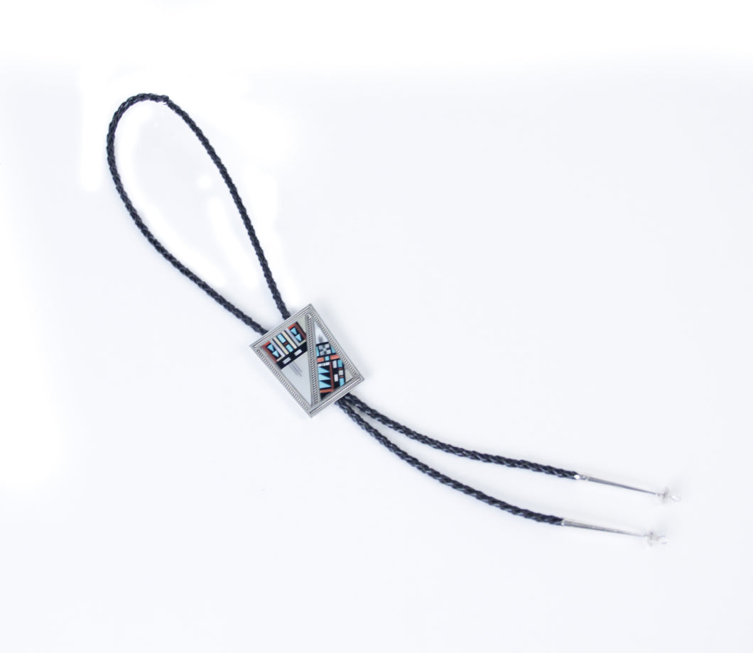 silver distinction native american made bolo tie necktie channel inlay leather stones and shells western accessory Zuni