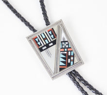 Load image into Gallery viewer, silver distinction native american made bolo tie necktie channel inlay leather stones and shells western accessory