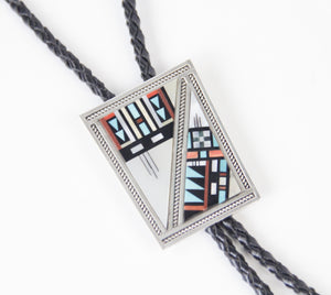 silver distinction native american made bolo tie necktie channel inlay leather stones and shells western accessory