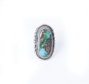 Royston turquoise ring oval shaped native american made handmade size 9.75 western statement pieces