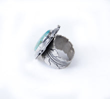 Load image into Gallery viewer, adjustable turquoise ring by silver distinction oval shaped ring native american made jewelry men and women