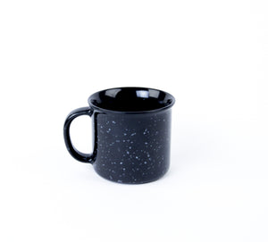 National Cowboy Museum black campfire mug ceramic coffee hot tea or soup cup drink in the morning like a cowboy ceramic glass 14 ounces back side view
