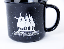 Load image into Gallery viewer, National Cowboy Museum black campfire mug ceramic coffee hot tea or soup cup drink in the morning like a cowboy ceramic glass 14 ounces logo detail