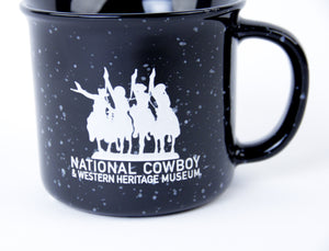 National Cowboy Museum black campfire mug ceramic coffee hot tea or soup cup drink in the morning like a cowboy ceramic glass 14 ounces logo detail