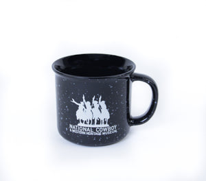 National Cowboy Museum black campfire mug ceramic coffee hot tea or soup cup drink in the morning like a cowboy ceramic glass 14 ounces