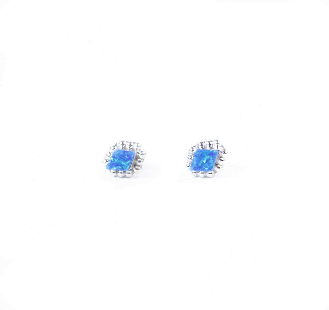 sleeping beauty turquoise earrings pearlescent studs simple everyday wear jewerly made by hand blue