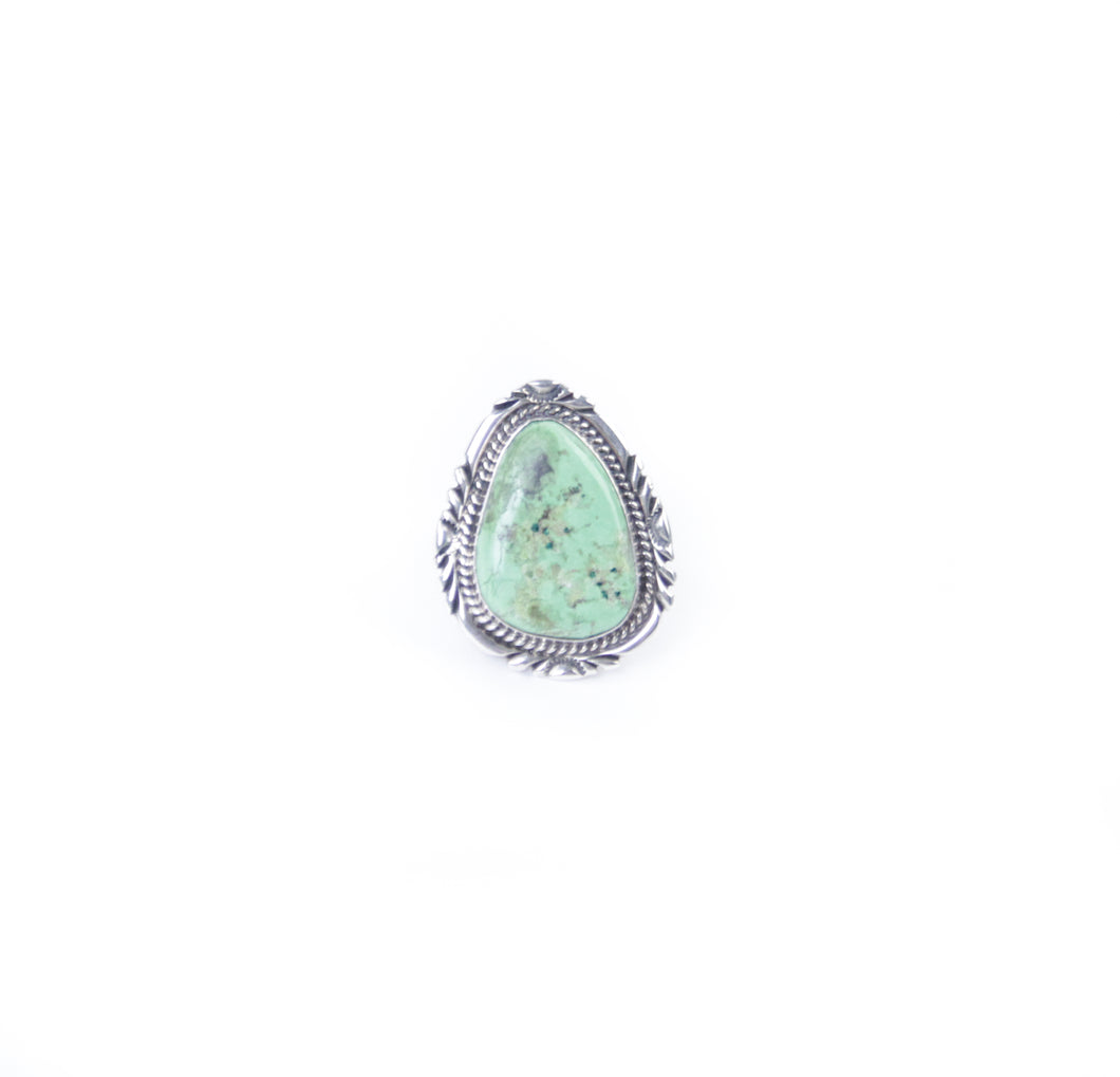 gaspiate ring pale green stone on sterling silver handmade by native american artists for Silver distinction size 7 ring jewelry