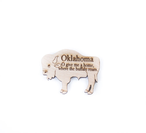 wooden buffalo magnet bison oklahoma souvenir home on the range snipet where the buffalo roam