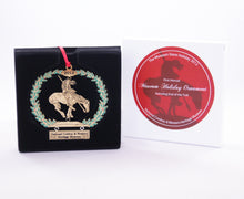 Load image into Gallery viewer, end of the trail sculpture christmas tree ornament collectible collection gold metal delicate stamped 2012 national cowboy and western heritage museum store's first annual christmas ornament with the box