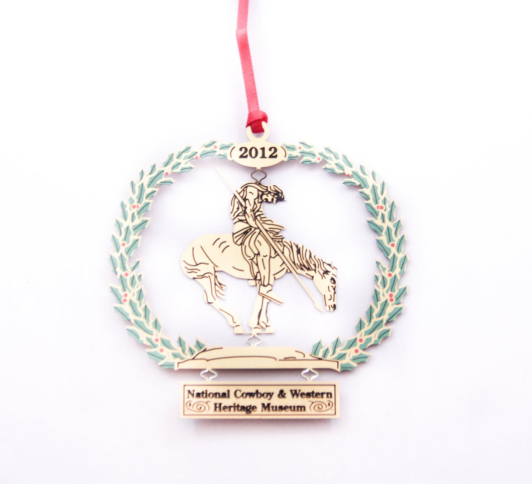 end of the trail sculpture christmas tree ornament collectible collection gold metal delicate stamped 2012 national cowboy and western heritage museum store's first annual christmas ornament