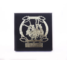 Load image into Gallery viewer, coming through the rye national cowboy museum collectible holiday ornament 2013 cowboys on horseback gold metal christmas tree ornament box