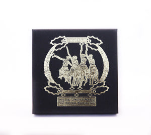 coming through the rye national cowboy museum collectible holiday ornament 2013 cowboys on horseback gold metal christmas tree ornament box